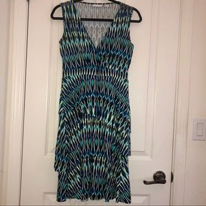 Blue and Green Flowy Dress
